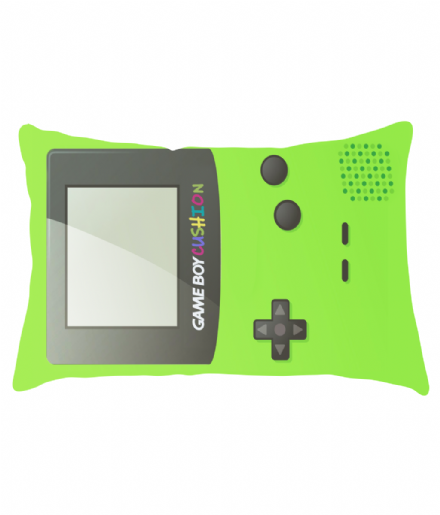 Lumbar Cushion with Lime Green Game Boy Color Design